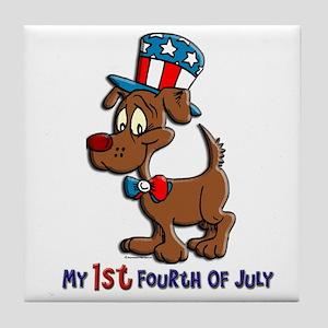 Patriotic Dog (1st Fourth Of July) Tile Coaster