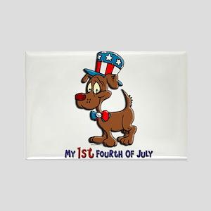 Patriotic Dog (1st Fourth Of July) Rectangle Magne
