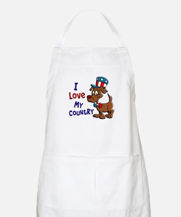 Patriotic Dog (Love My Country) BBQ Apron