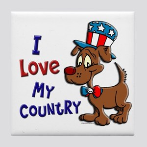 Patriotic Dog (Love My Country) Tile Coaster