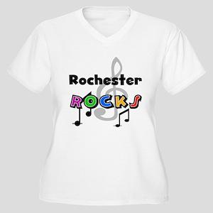 Rochester Rocks Women's Plus Size V-Neck T-Shirt