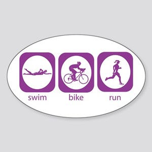 Swim Bike Run Oval Sticker