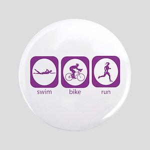 """Swim Bike Run 3.5"""" Button"""