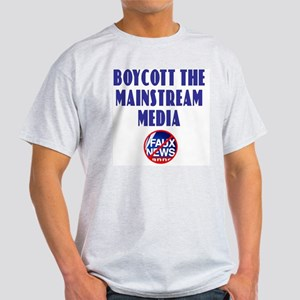 Boycott Mainstream Media Ash Grey T-Shirt