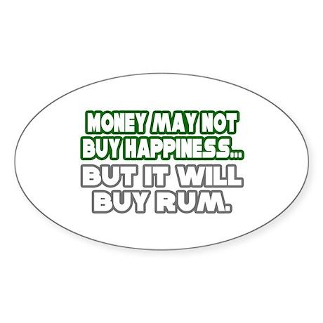 """Money, Happiness, Rum"" Oval Sticker (10 pk)"