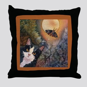 Tuxedo Cat, Moonlight, and Mo Throw Pillow
