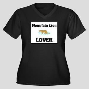 Mountain Lion Lover Women's Plus Size V-Neck Dark