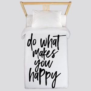 Do What Makes You Happy Typograph Twin Duvet Cover