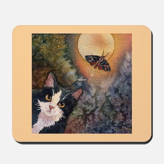 Tuxedo Cat, Moonlight, and Mo Mousepad