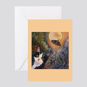Tuxedo Cat, Moonlight, and Mo Greeting Card
