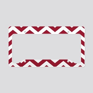 Crimson Red: Chevron Pattern License Plate Holder