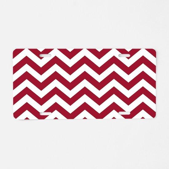 Crimson Red: Chevron Pattern Aluminum License Plat