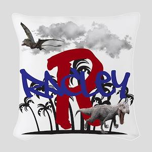 Dinosaur Personalize Name, Woven Throw Pillow