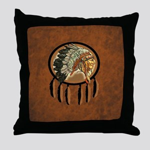Indian Chief Shield Throw Pillow