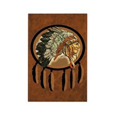 Indian Chief Shield Rectangle Magnet