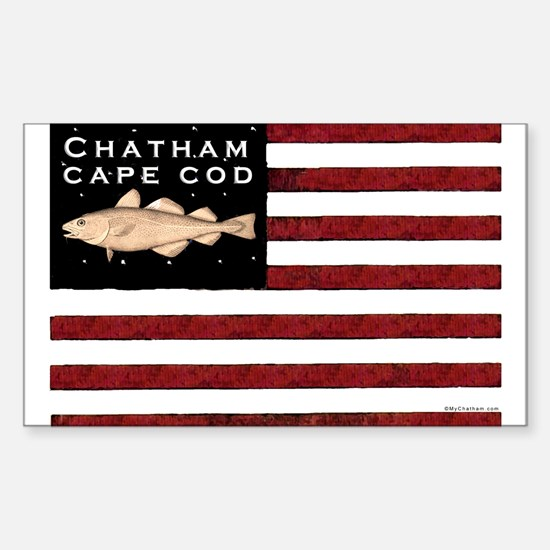 """""""Chatham Cape Cod"""" Flag Rectangle Decal"""