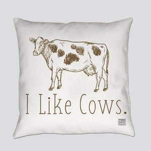 I Like Cows (brown/dark) Everyday Pillow
