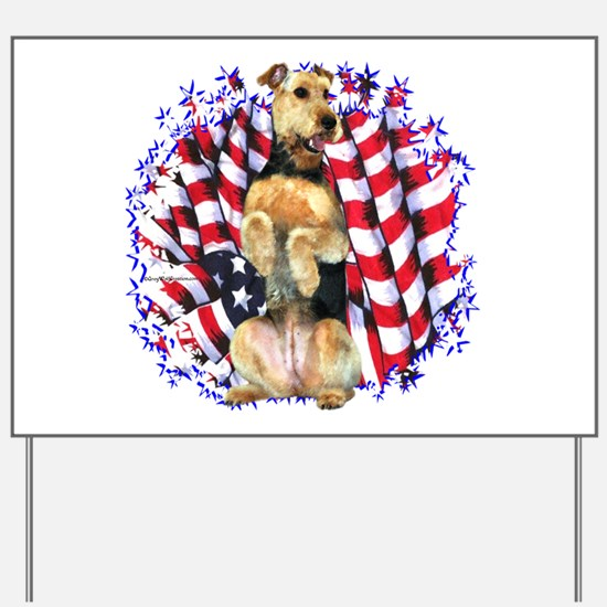 Airedale Patriotic Yard Sign
