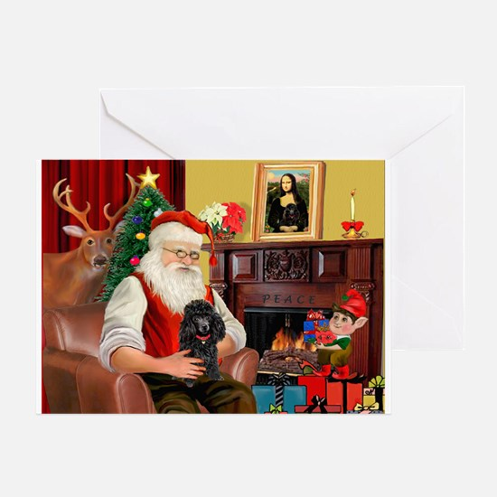 Santa's Toy Poodle (Blk) Greeting Card