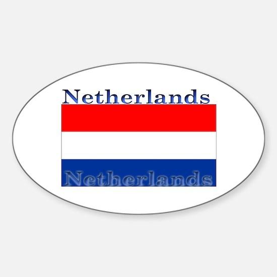 Netherlands Dutch Flag Oval Stickers