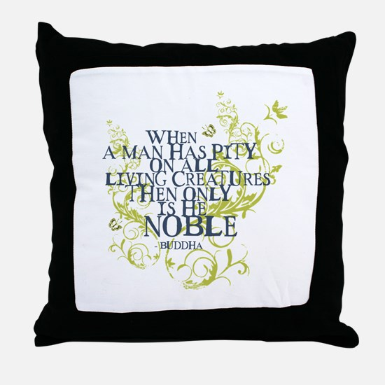 Buddha Vine - Noble Text - Blue Green Throw Pillow