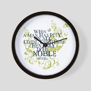 Buddha Vine - Noble Text - Blue Green Wall Clock