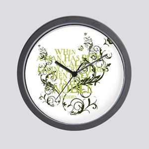 Buddha - Noble Text - Green Wall Clock