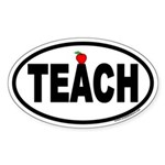 TEACH Euro Oval Sticker with Apple