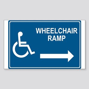 Wheelchair Ramp Notice Rectangle Sticker