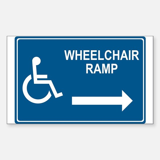 Wheelchair Ramp Notice Rectangle Decal