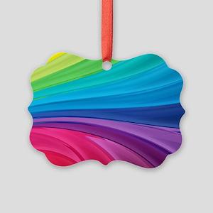 Rainbow Wave Swirls Picture Ornament
