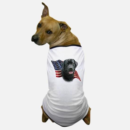Black Lab Flag Dog T-Shirt