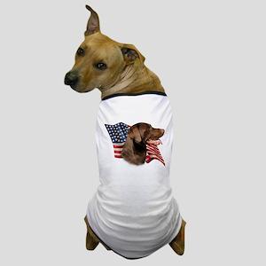 Chocolate Lab Flag Dog T-Shirt