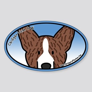 Anime Brindle Cardigan Corgi Oval Sticker