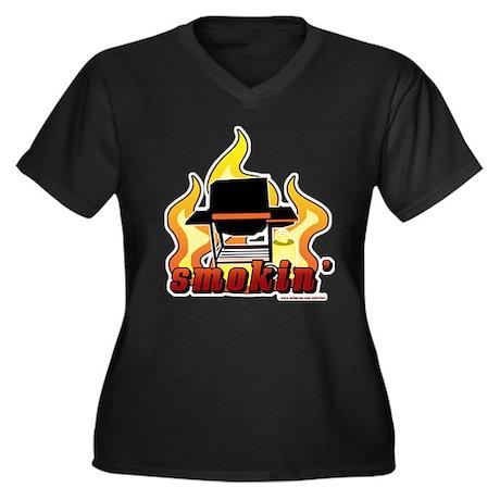Smokin BBQ Women's Plus Size V-Neck Dark T-Shirt
