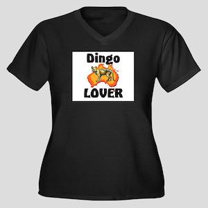 Dingo Lover Women's Plus Size V-Neck Dark T-Shirt