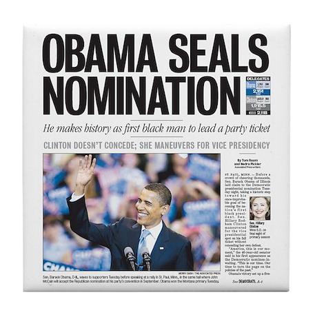 Obama Seals Nomination Tile Coaster