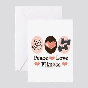 Peace out greeting cards cafepress peace love fitness greeting card m4hsunfo