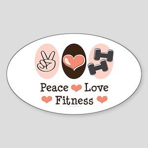 Peace Love Fitness Oval Sticker