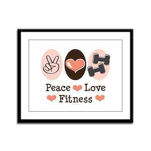 Peace Love Fitness Framed Panel Print