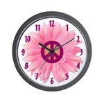 Pink Peace Daisy Wall Clock