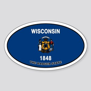 Wisconsin State Flag Oval Sticker