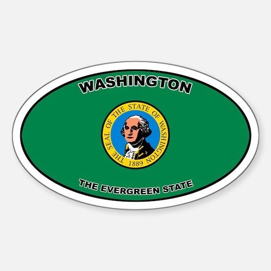 Washington State Flag Oval Decal