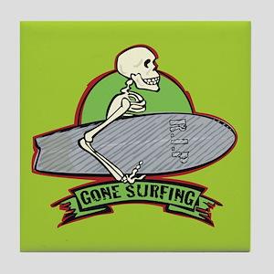 Surfing Halloween Skeleton Tile Coaster