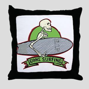 Surfing Halloween Skeleton Throw Pillow
