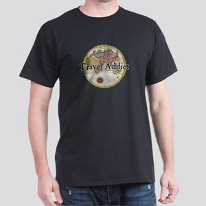 Travel Addict 'Style 2' Black T-Shirt