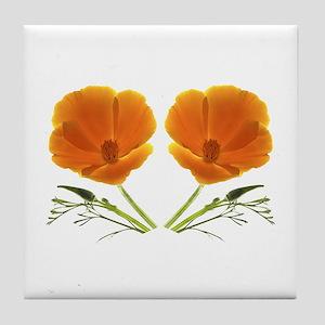 Golden Poppy Flower Tile Coaster