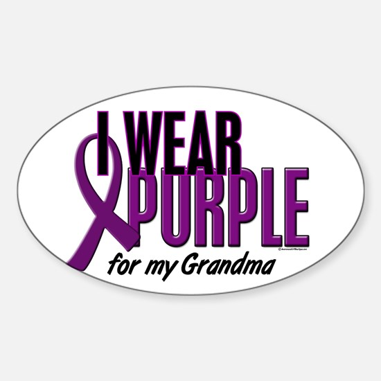 I Wear Purple For My Grandma 10 Oval Decal