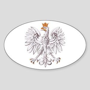 Polish White Eagle Oval Sticker