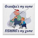 Fishing Grandpa Tile Coaster